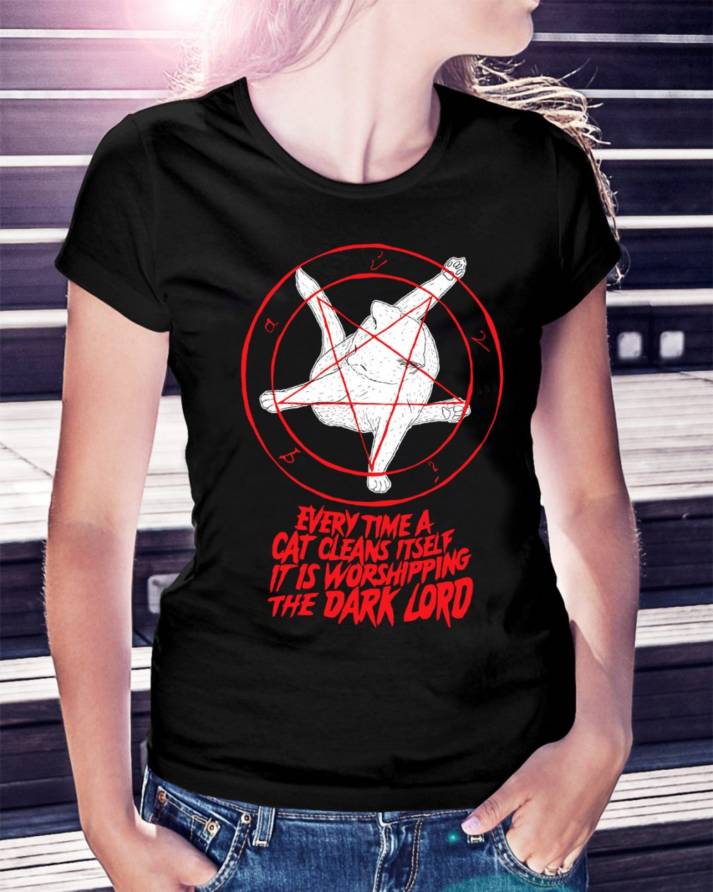 Pentagram Cat every time a cat cleans itself it is worshipping Ladies Tee