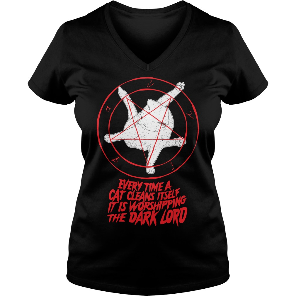 Pentagram Cat every time a cat cleans itself it is worshipping V-neck T-shirt