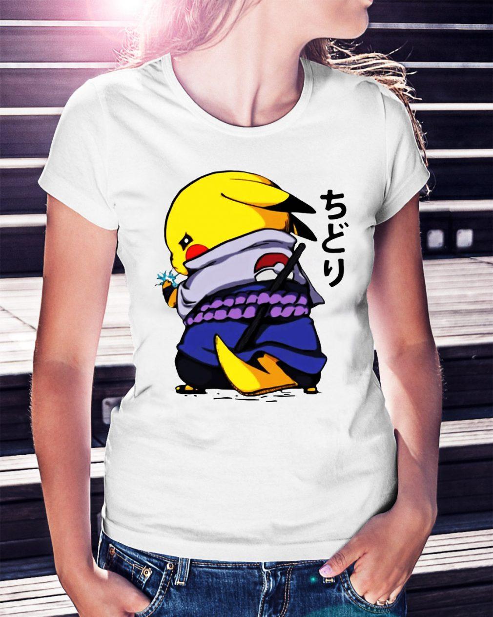 Pikachu Sasuke Naruto Chidori Ladies Tee