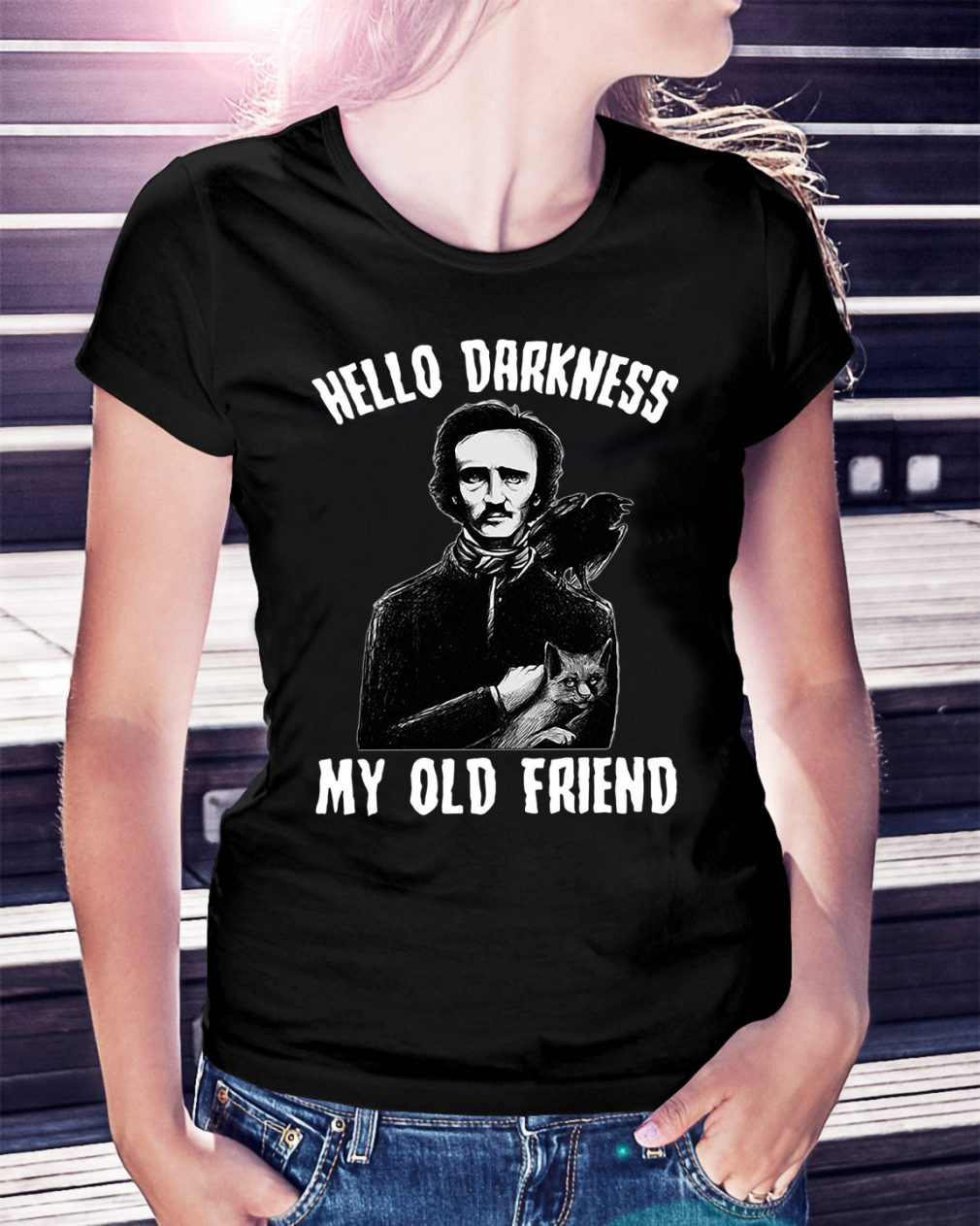 Poe hello Darkness my old friend Ladies Tee