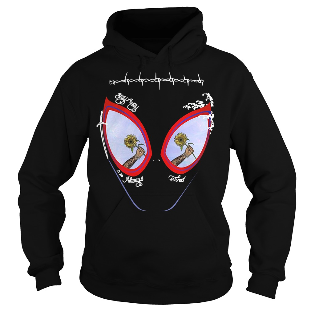 49470c58 Post Malone stay away always tired Spider man mask Hoodie