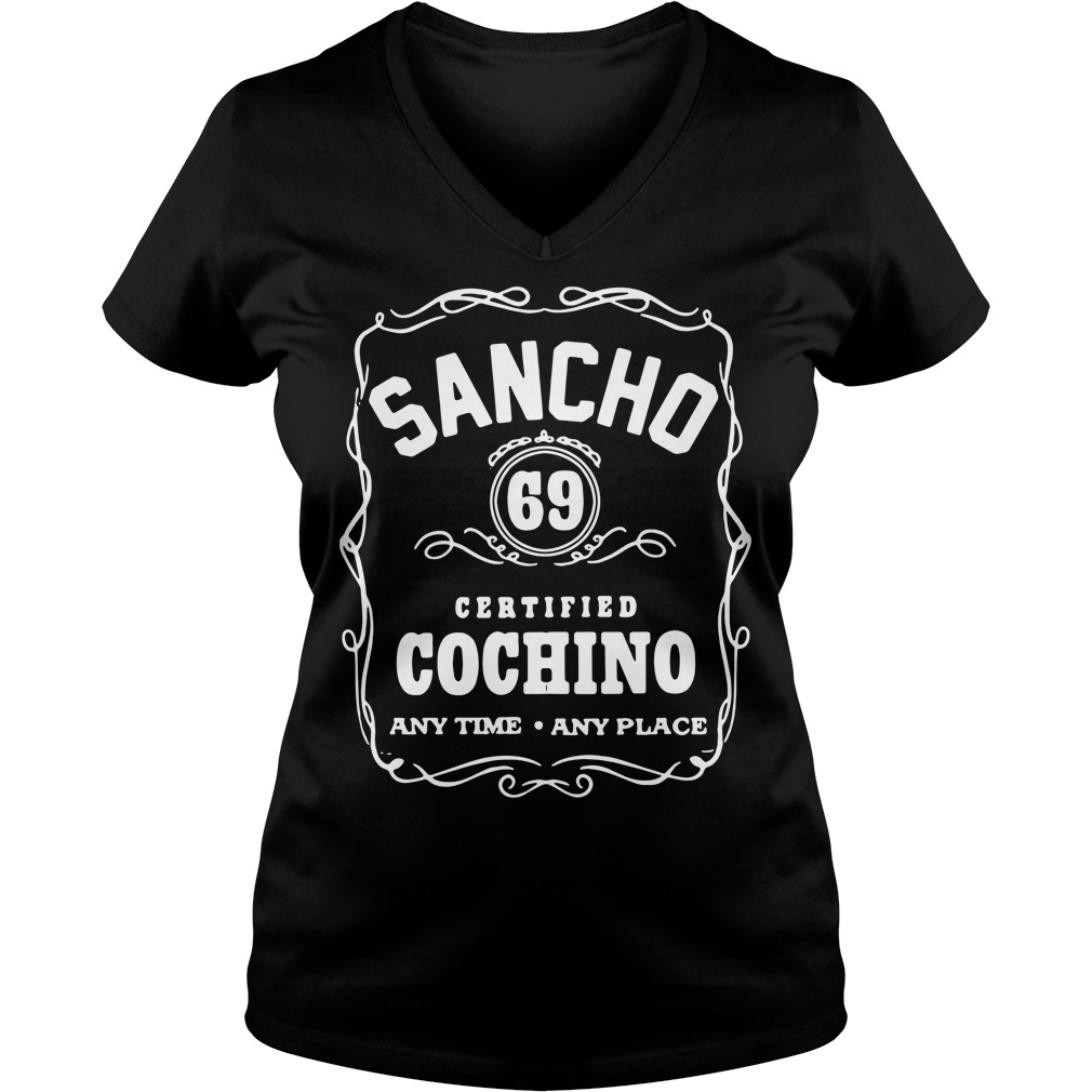 Sancho 69 certified cochino any time any place V-neck T-shirt