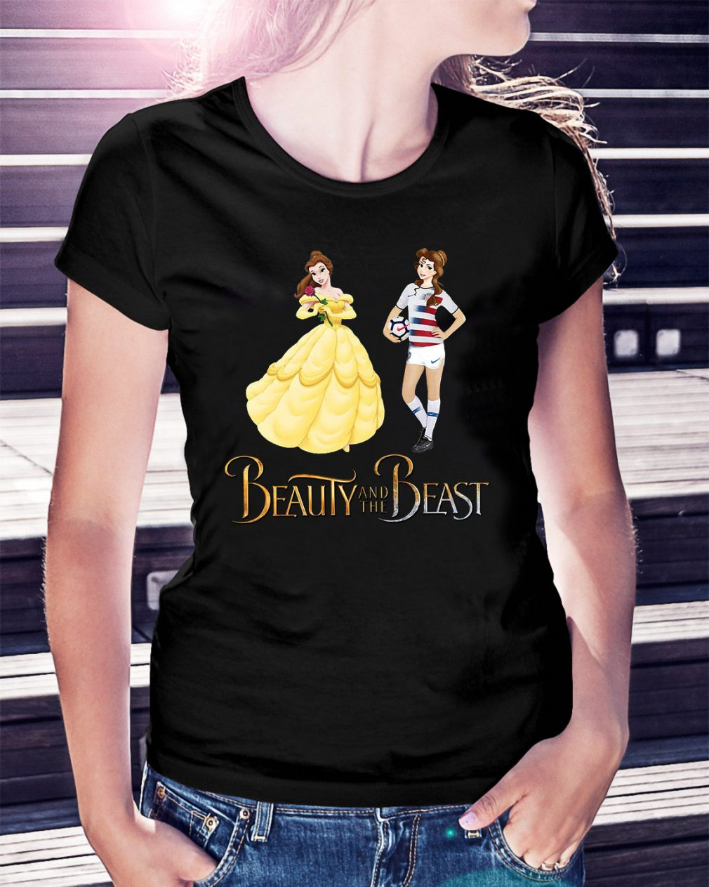 Sports soccer beauty and the beast Ladies Tee