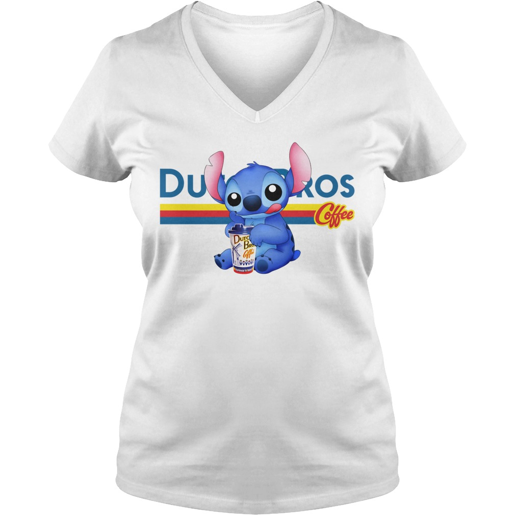 Stitch Dutch Bros coffee V-neck T-shirt