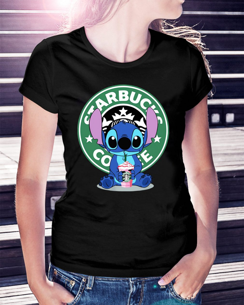 Stitch Starbucks coffee Ladies Tee