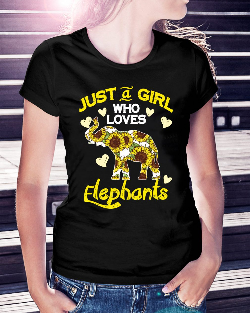 Sunflower just a girl who loves Elephants Ladies Tee