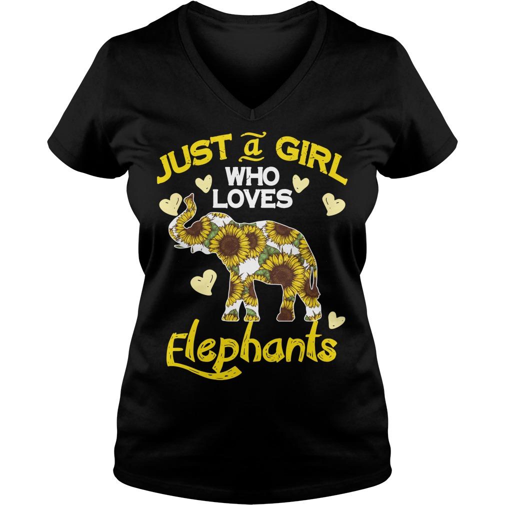 Sunflower just a girl who loves Elephants V-neck T-shirt