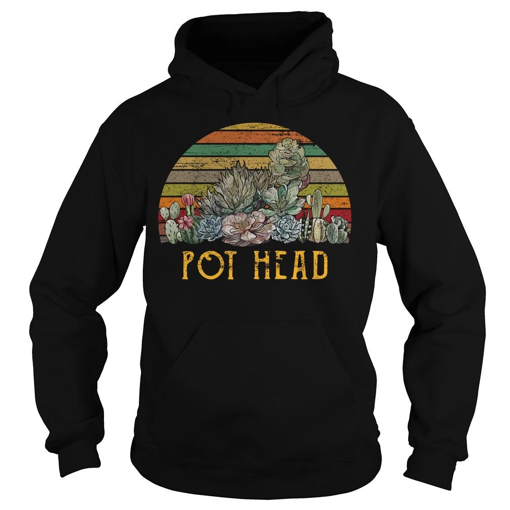 Sunset retro Cactus pot head Hoodie