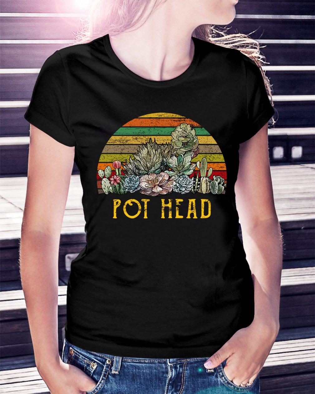 Sunset retro Cactus pot head Ladies Tee