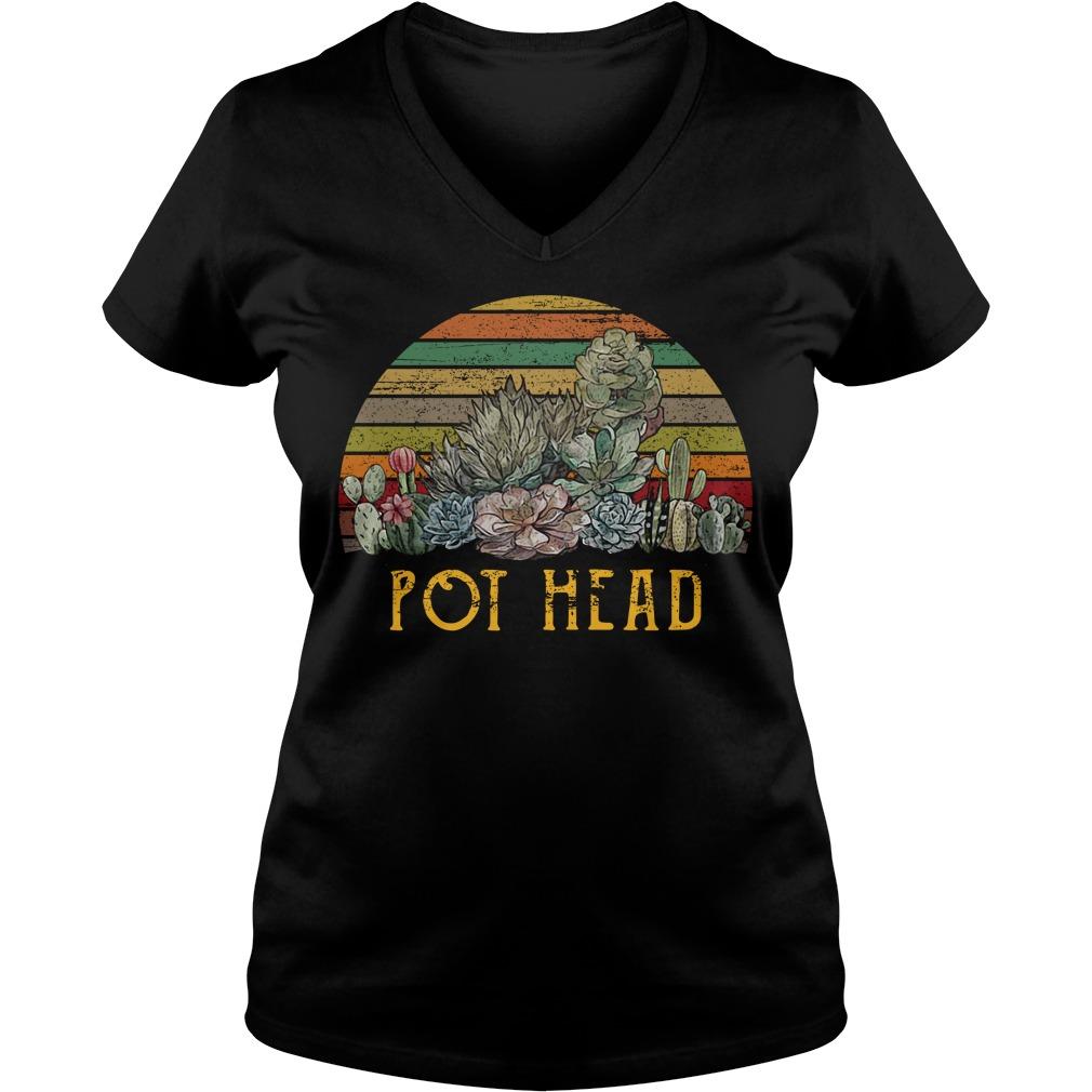 Sunset retro Cactus pot head V-neck T-shirt