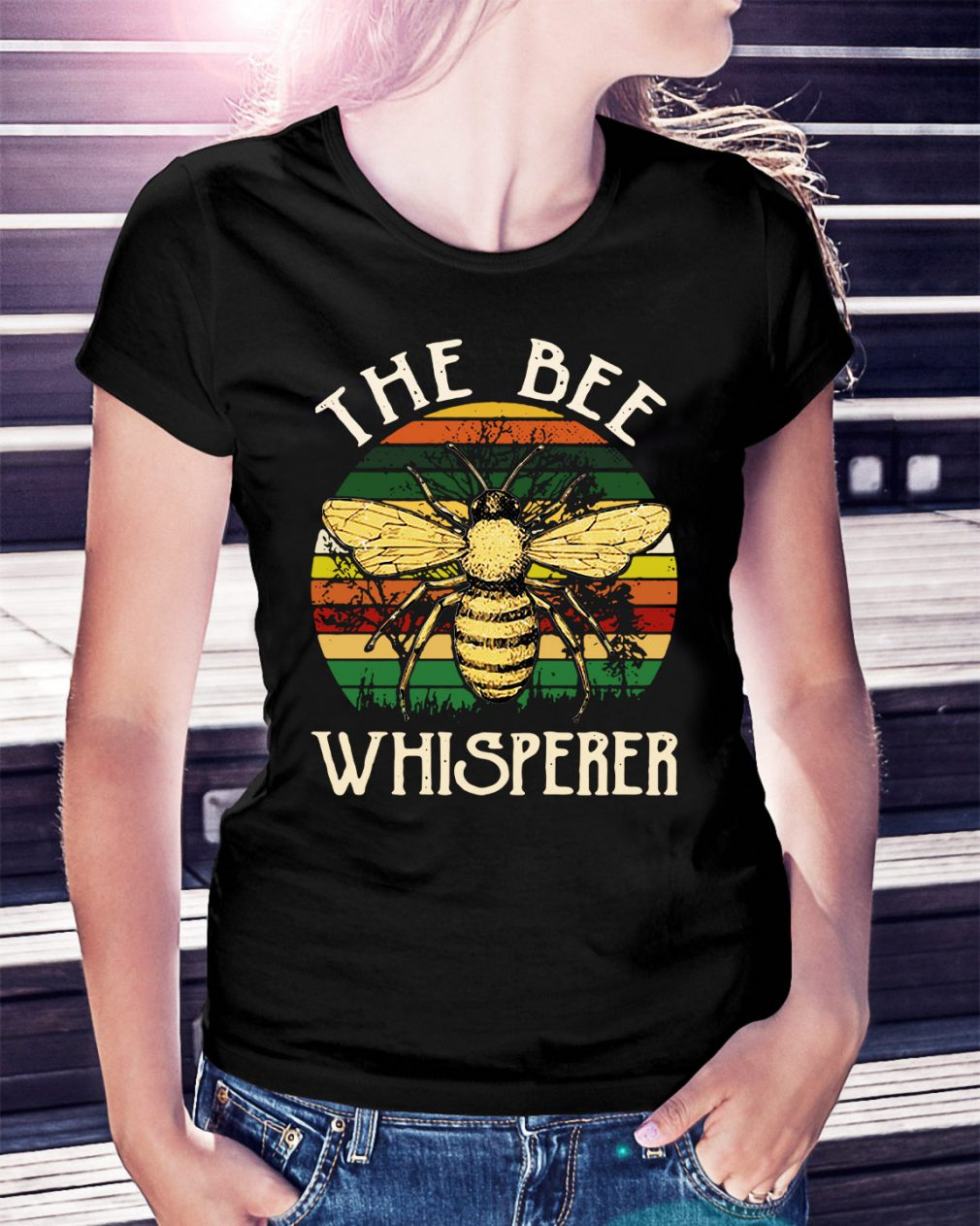 The bee whisperer sunset retro Ladies Tee