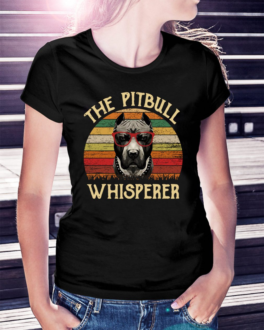 The pitbull whisperer sunset retro Ladies Tee