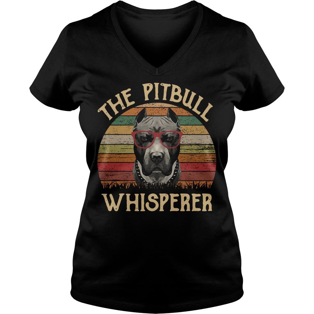 The pitbull whisperer sunset retro V-neck T-shirt