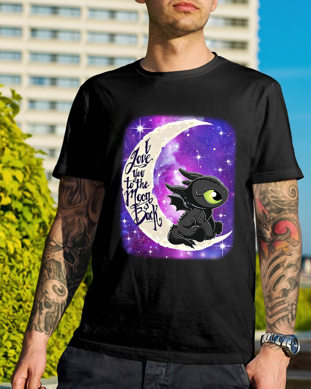 Toothless I love you to the moon and back shirt