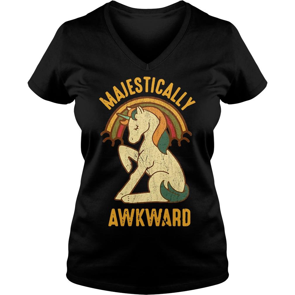Unicorn rainbow Majestically Awkward V-neck T-shirt