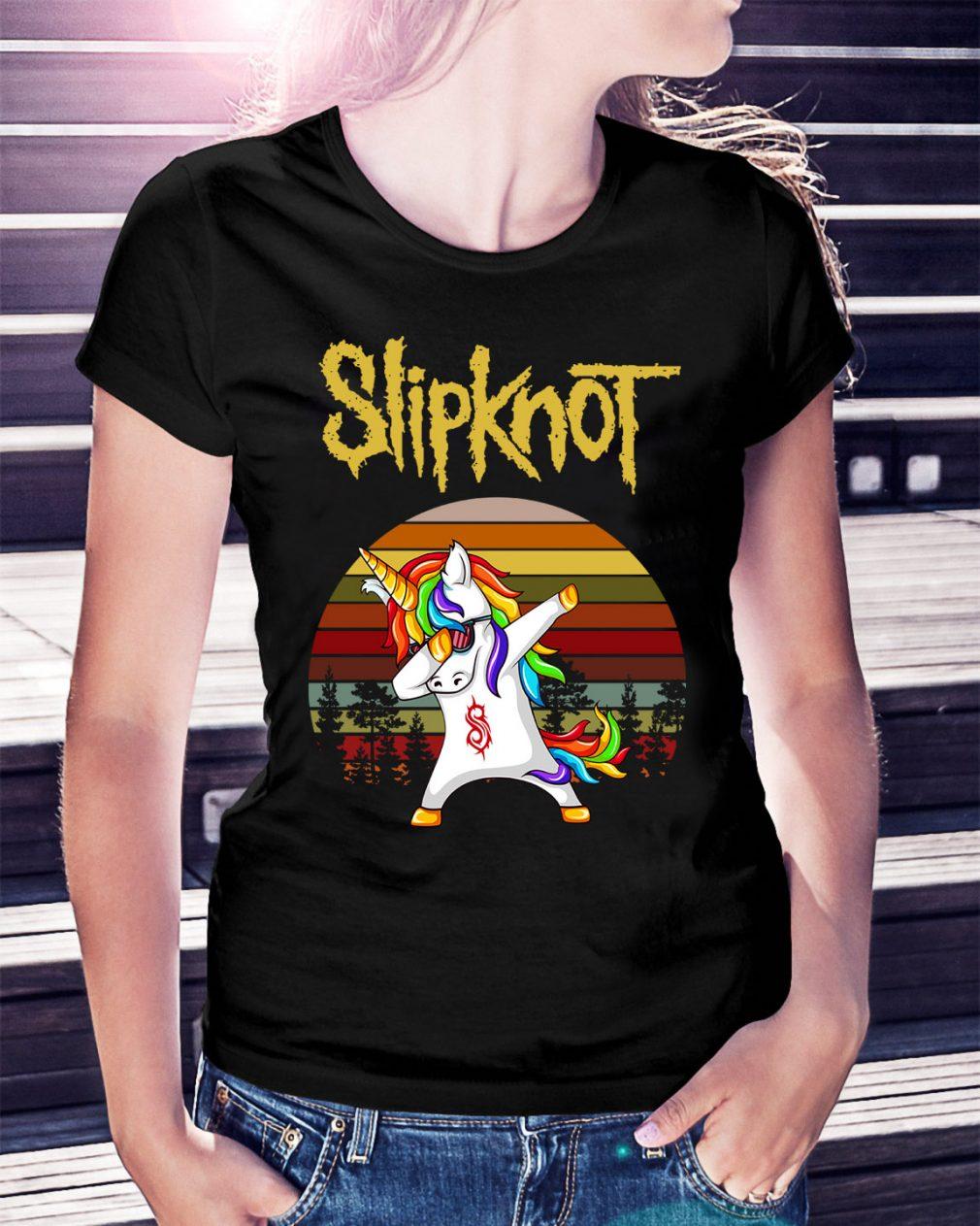 Unicorn Slipknot dabbing sunset retro Ladies Tee