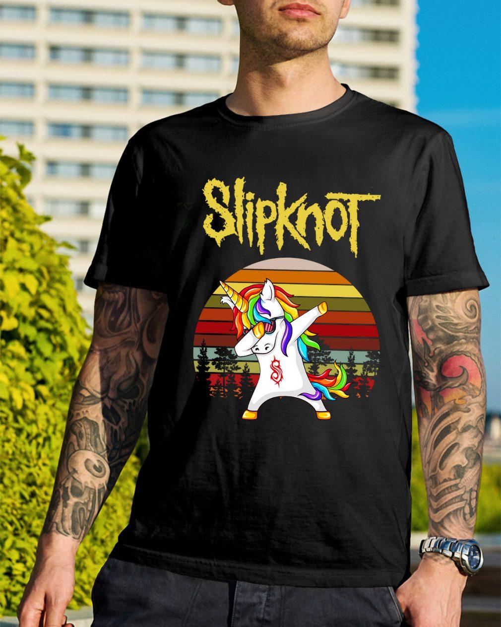 Unicorn Slipknot dabbing sunset retro shirt