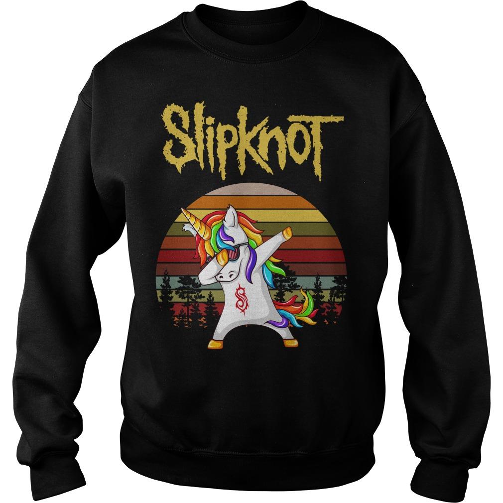 Unicorn Slipknot dabbing sunset retro Sweater