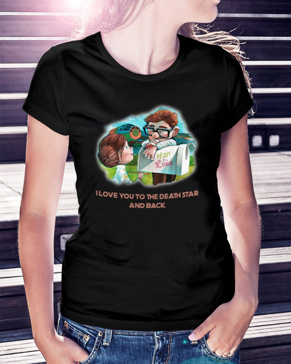 Up Han and Leia I love you to the death star and back Ladies Tee