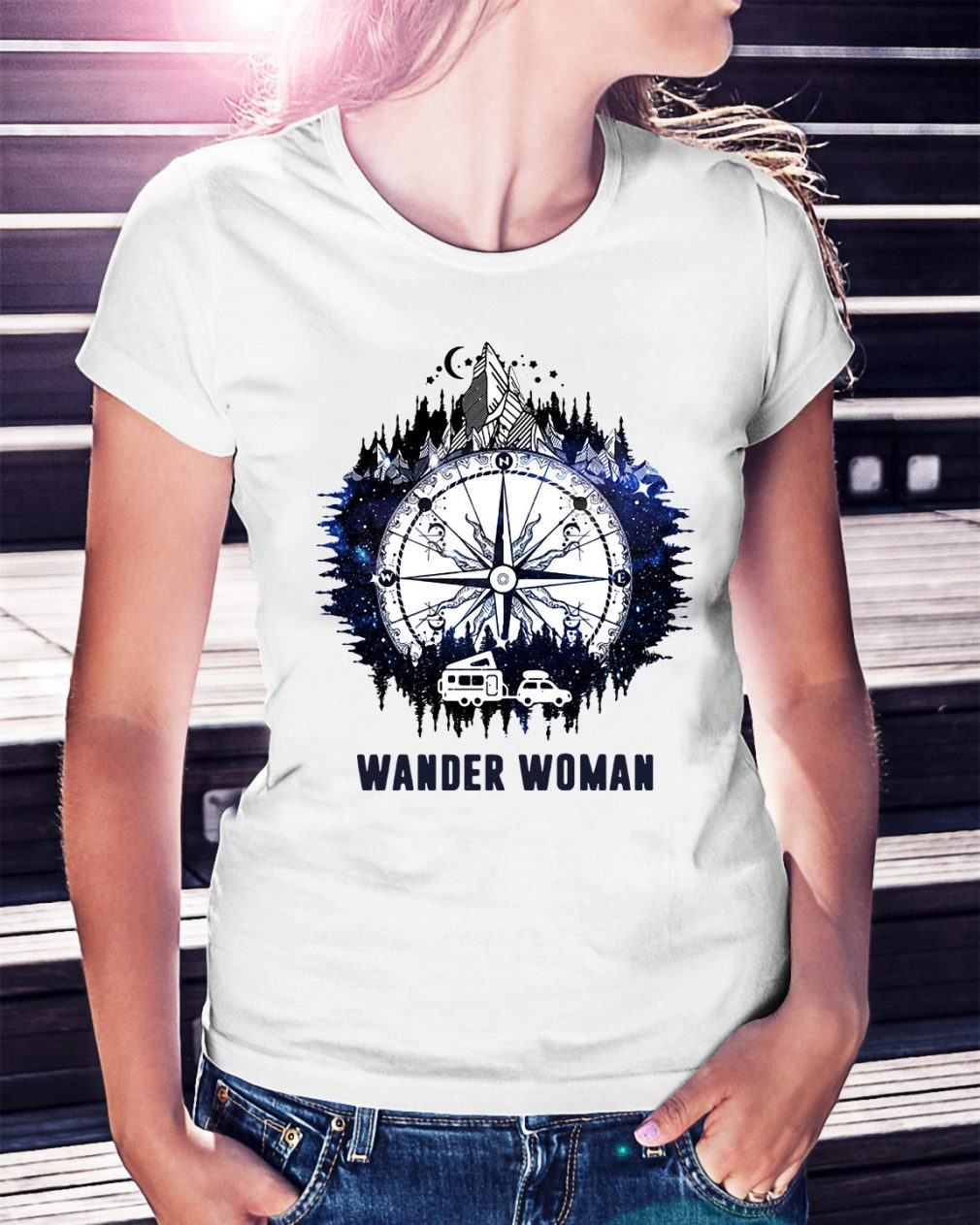 Wander woman camping compass version Ladies Tee