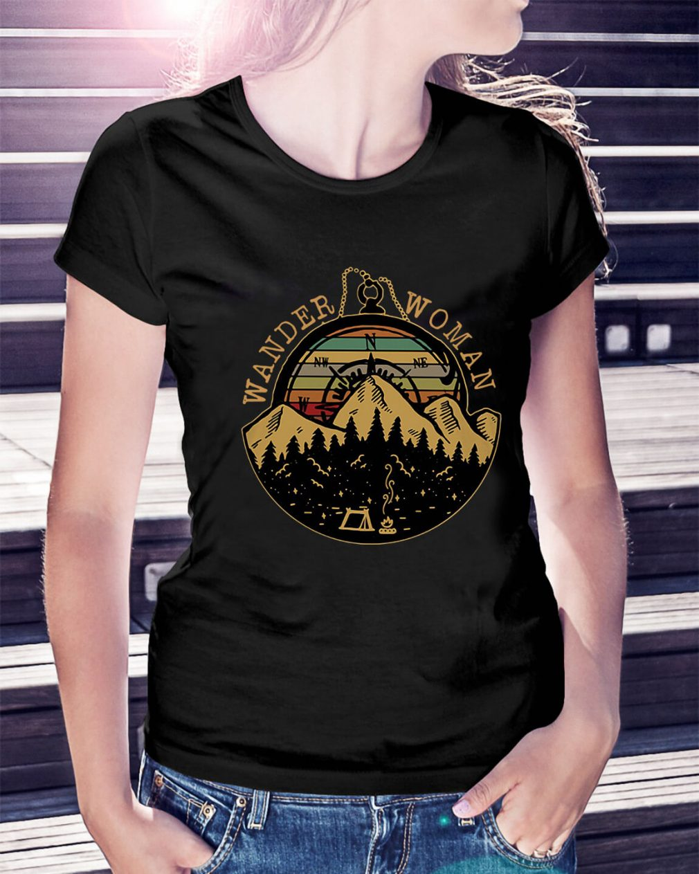 Wander woman sunset retro Ladies Tee