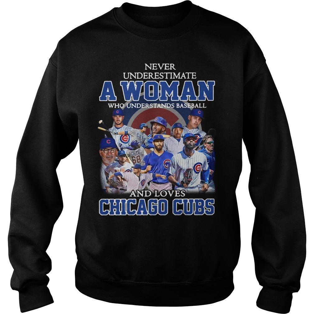 A woman who understands baseball and loves Chicago Cubs Sweater