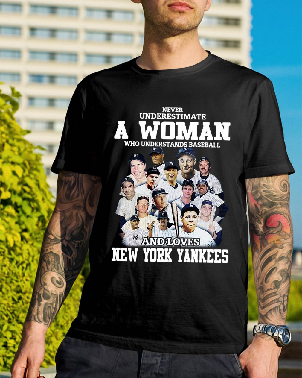 A woman who understands baseball and loves New York Yankees shirt