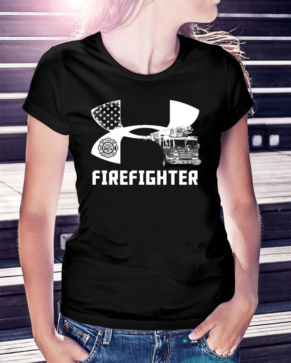 American Flag under armour firefighter Ladies Tee