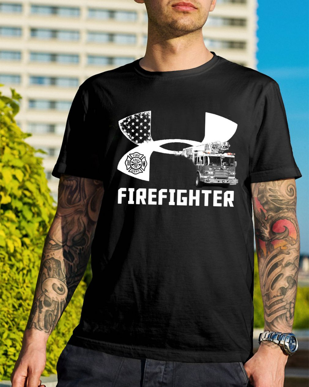 American Flag under armour firefighter shirt