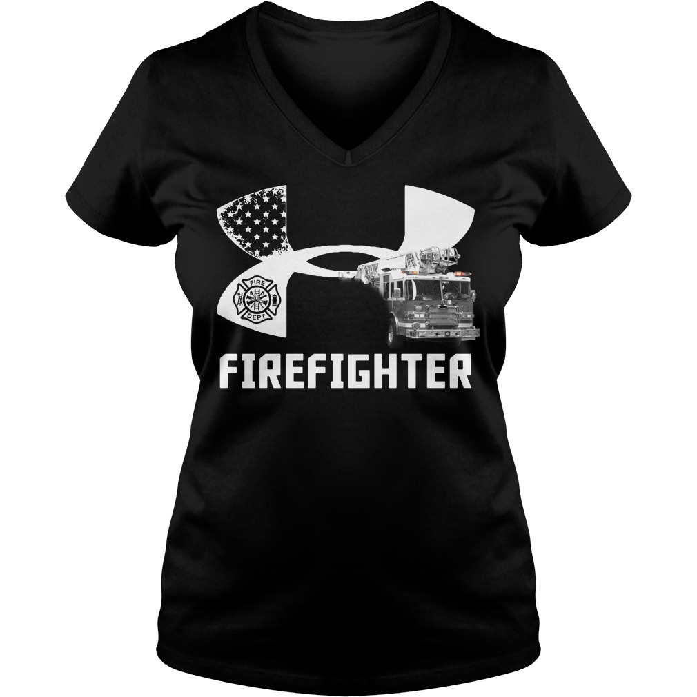 American Flag under armour firefighter V-neck T-shirt