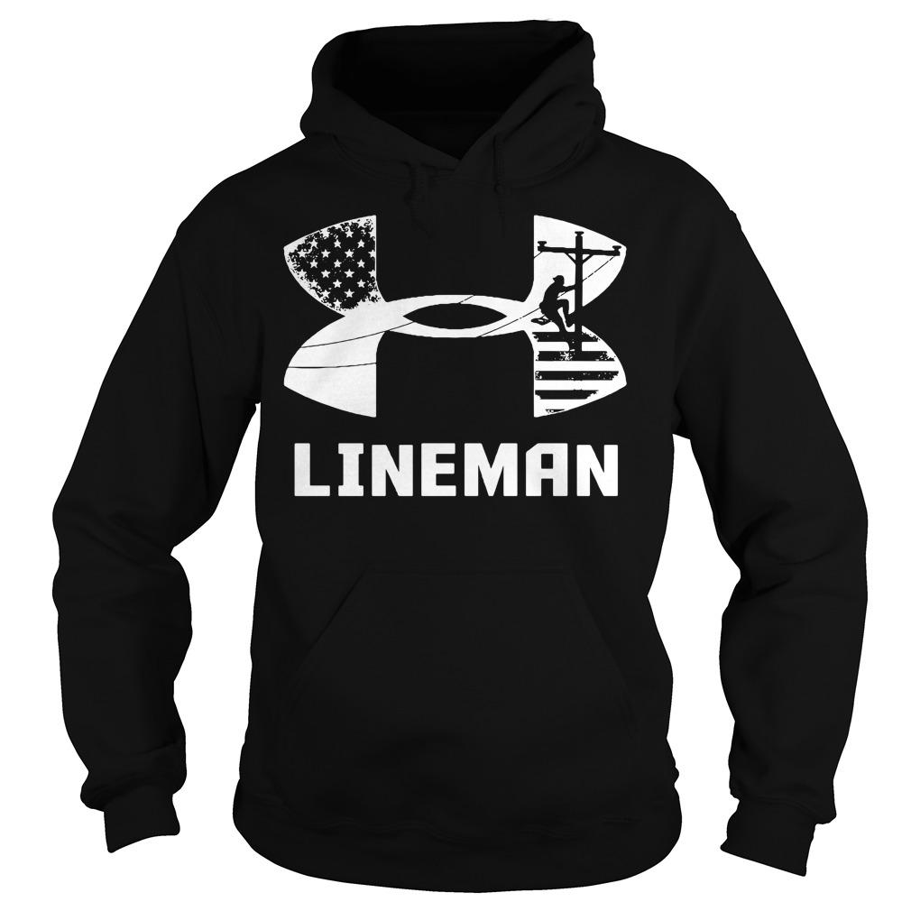 American Flag under armour lineman Hoodie