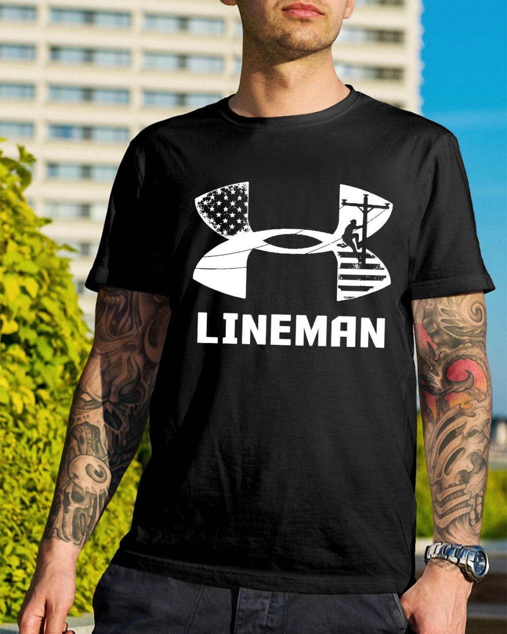 American Flag under armour lineman shirt