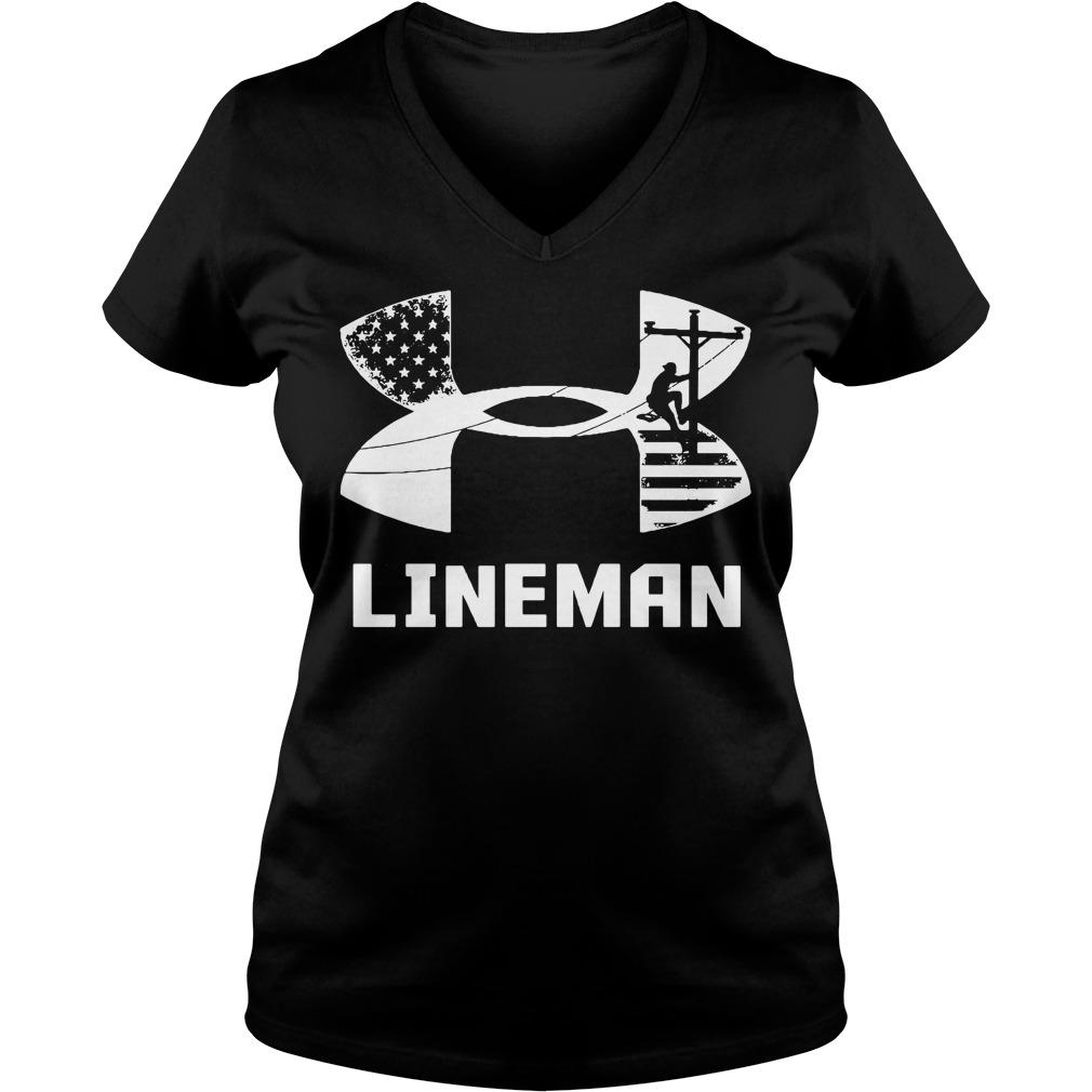American Flag under armour lineman V-neck T-shirt