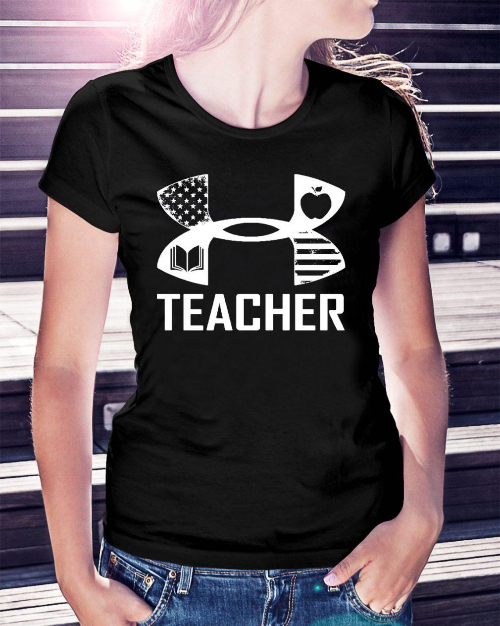 American Flag under armour teacher Ladies Tee
