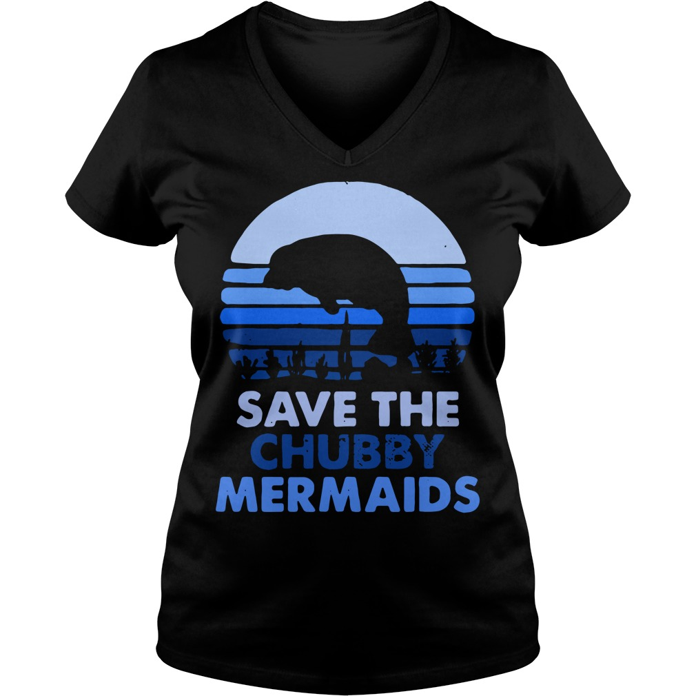 Save the chubby Mermaids vintage V-neck T-shirt