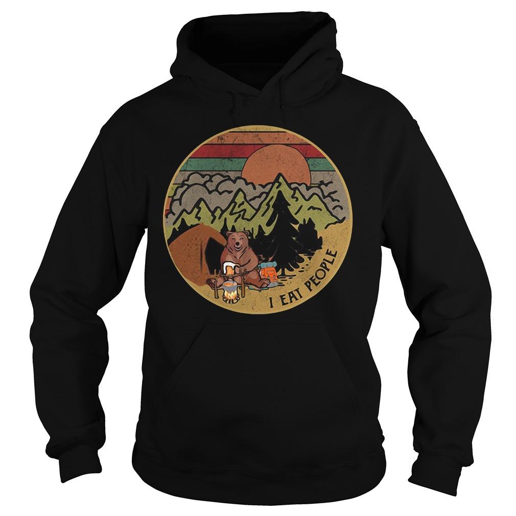 Bear camping I eat people sunset retro Hoodie