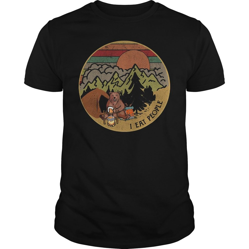 Bear camping I eat people sunset retro shirt