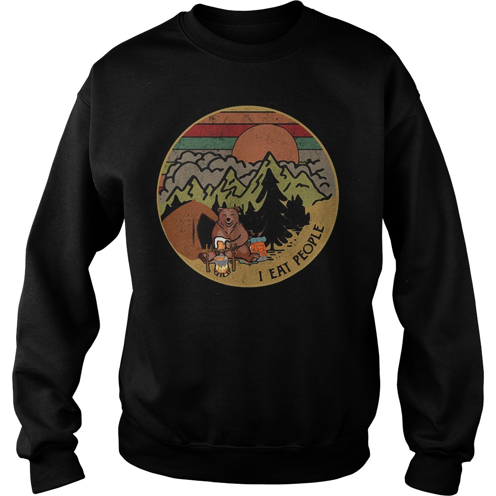 Bear camping I eat people sunset retro Sweater