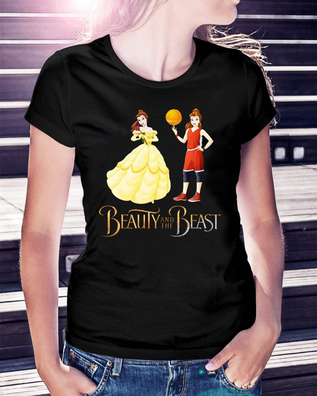 Beauty and the beast Basketball beauty Ladies Tee