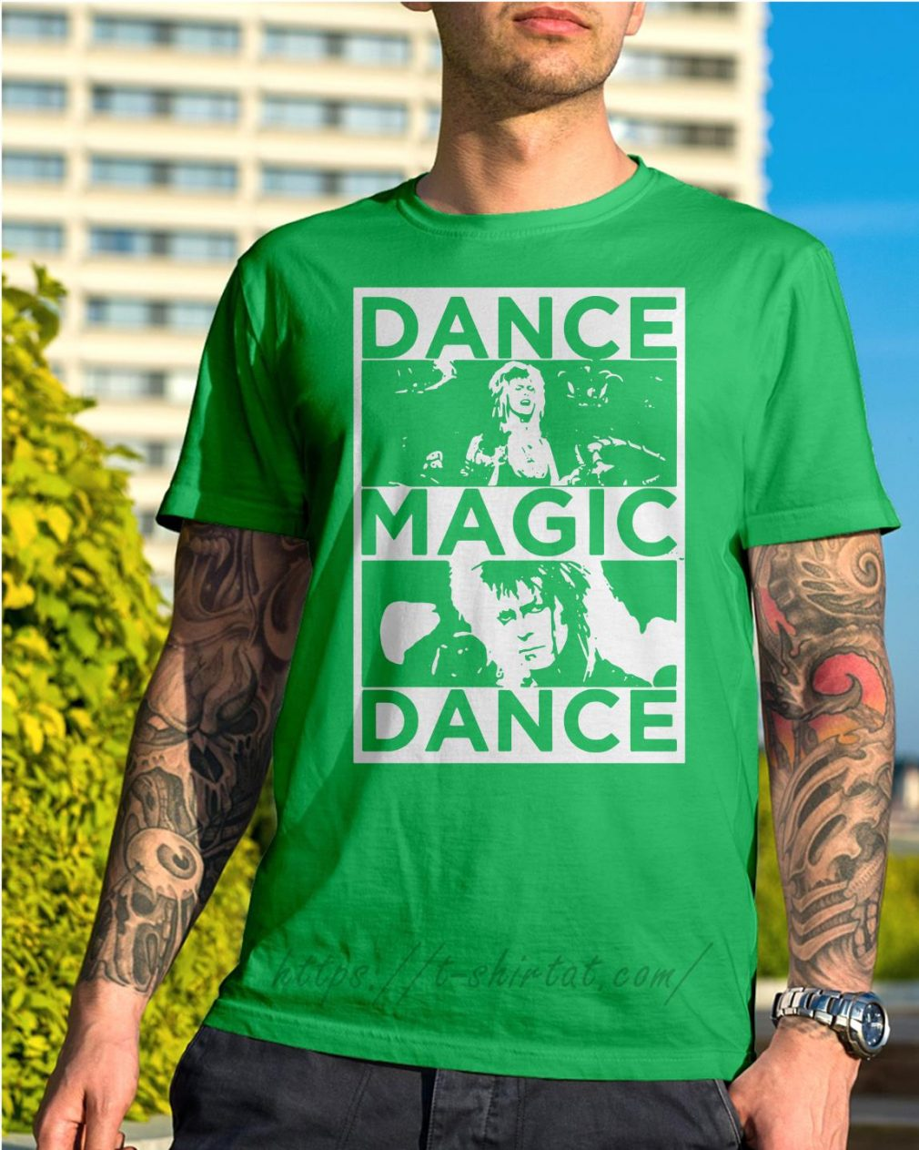 Bowie Labyrinth dance magic dance you remind of the babe Shirt green
