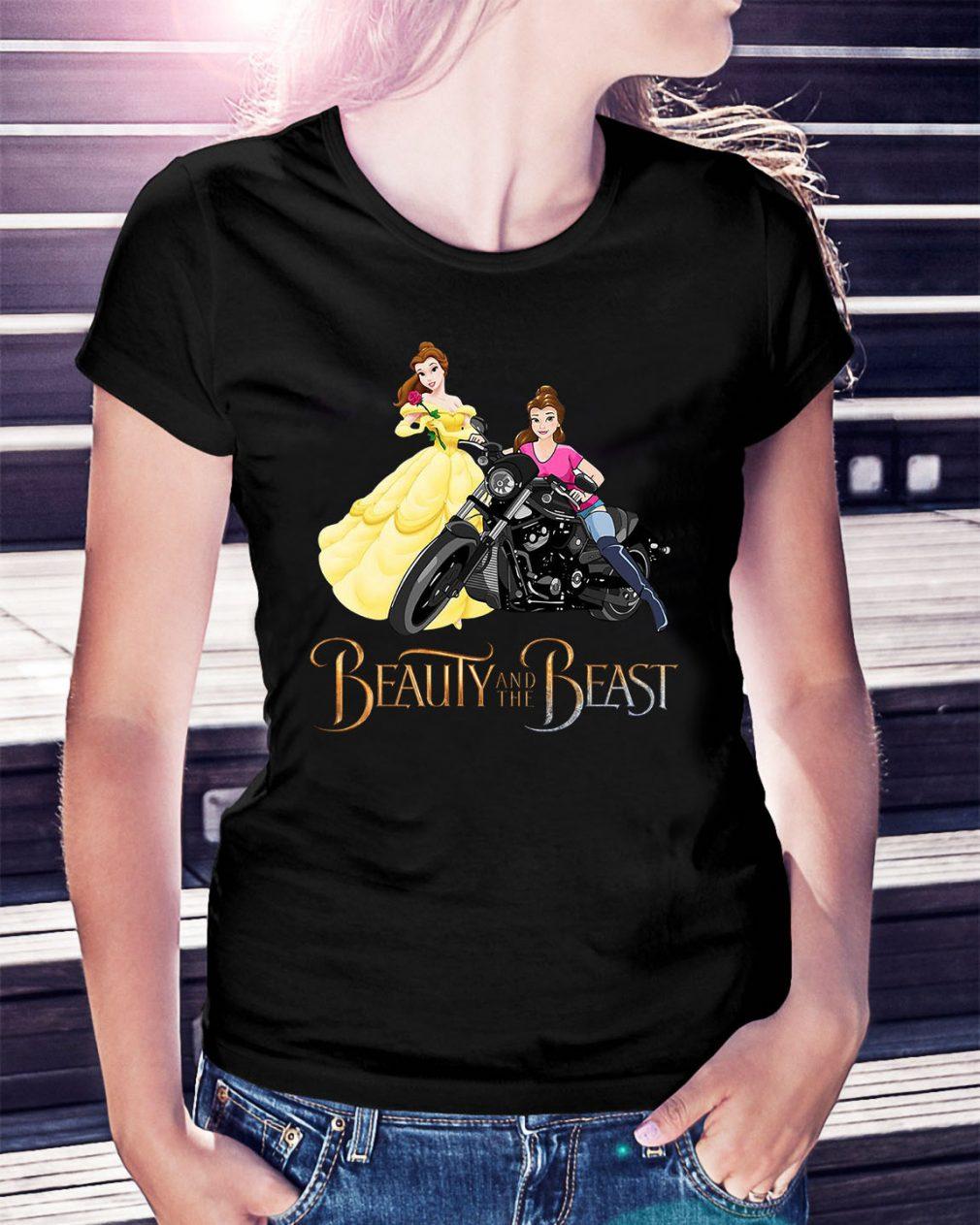 Disney Beauty and the Beast Belle motorcycle Ladies Tee