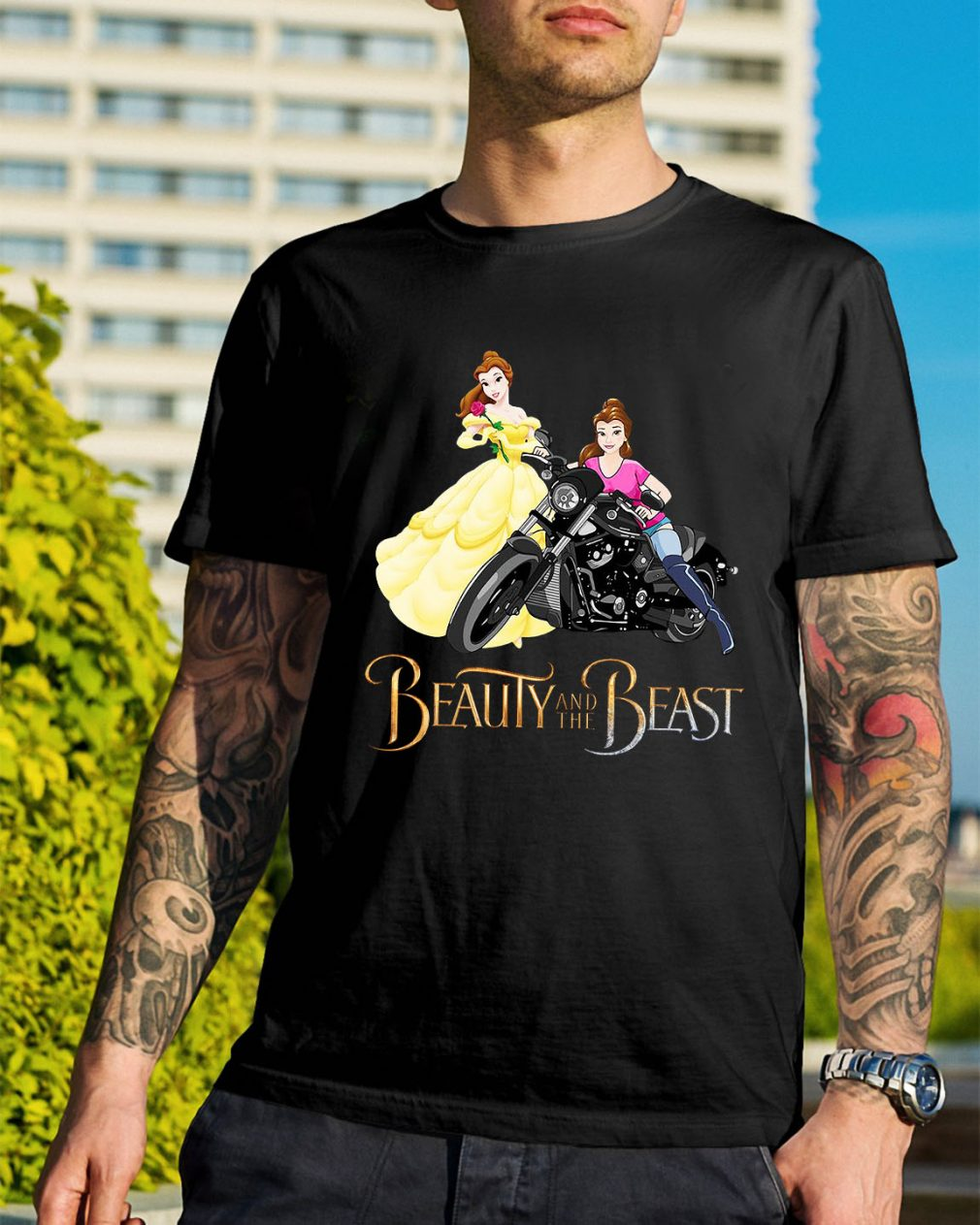 Disney Beauty and the Beast Belle motorcycle shirt