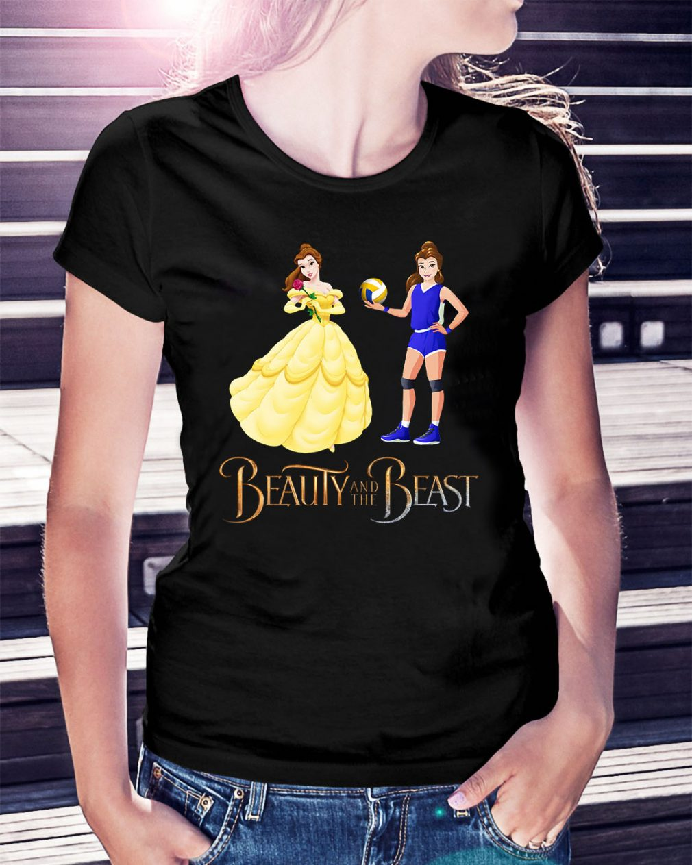 Disney Beauty and the Beast volleyball beauty Ladies Tee