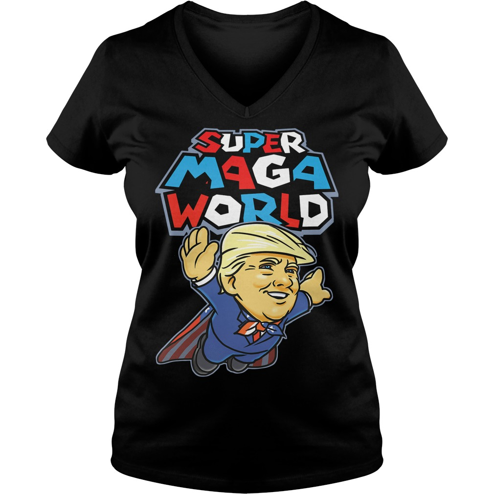 Donald Trump super MAGA world V-neck T-shirt