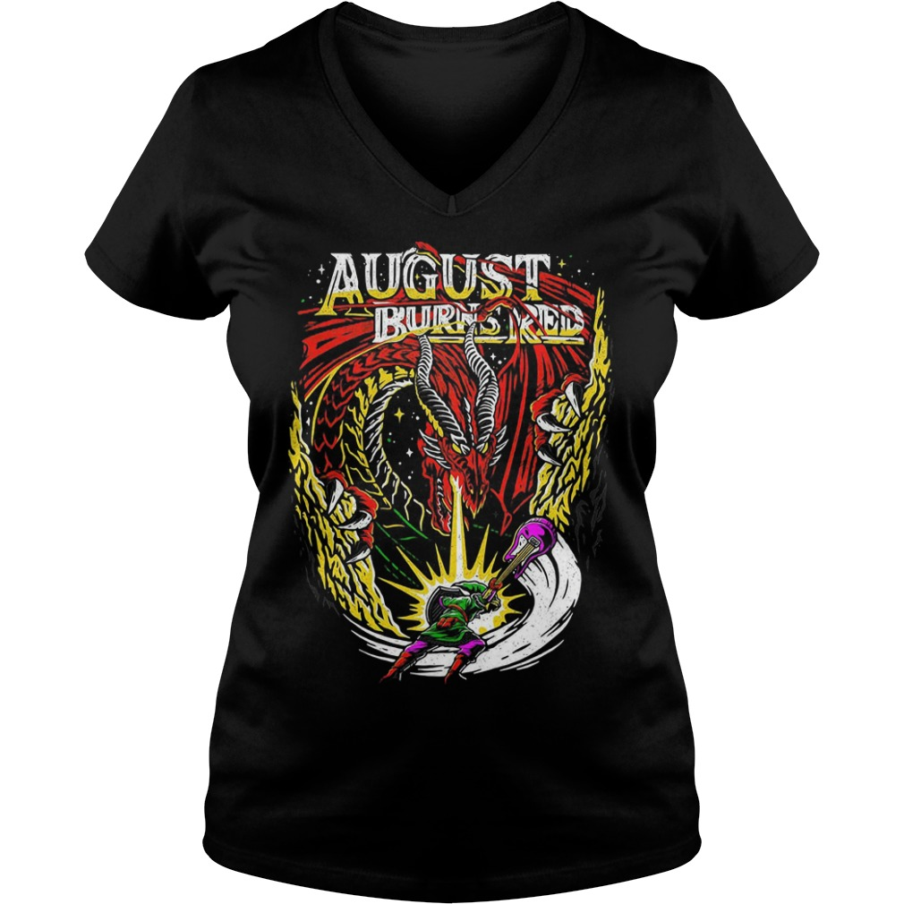 Dragon August burns red V-neck T-shirt