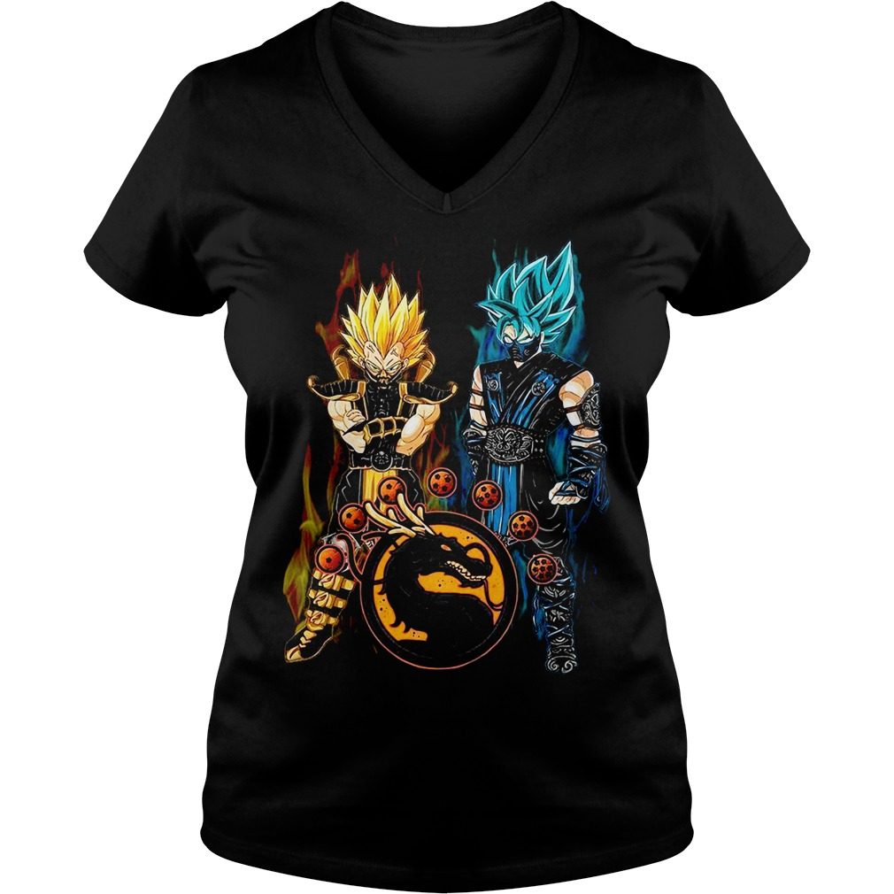 Dragon ball Son Goku and Vegeta mortal kombat V-neck T-shirt