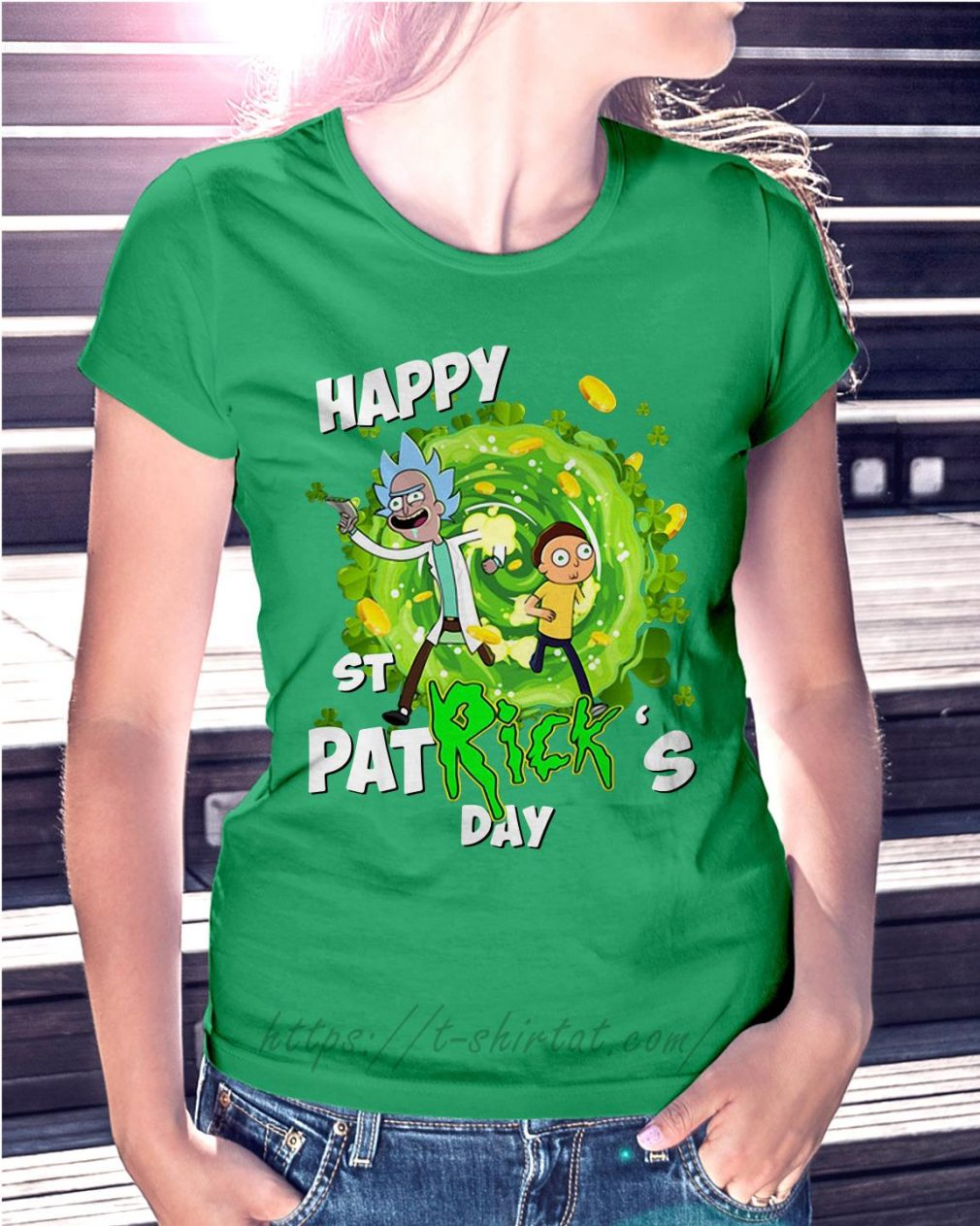 Happy St PatRick's day Rick Sanchez Ladies Tee green