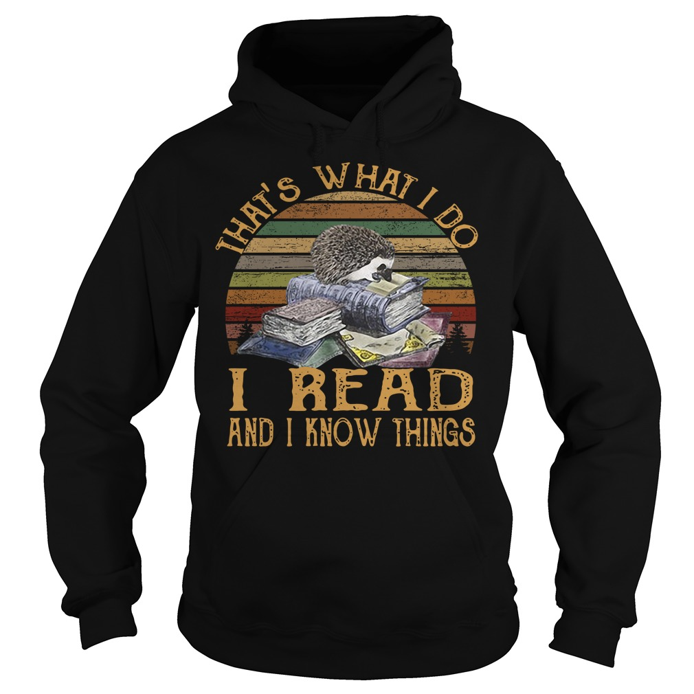 Hedgehog that's what I do I read and I know things vintage Hoodie