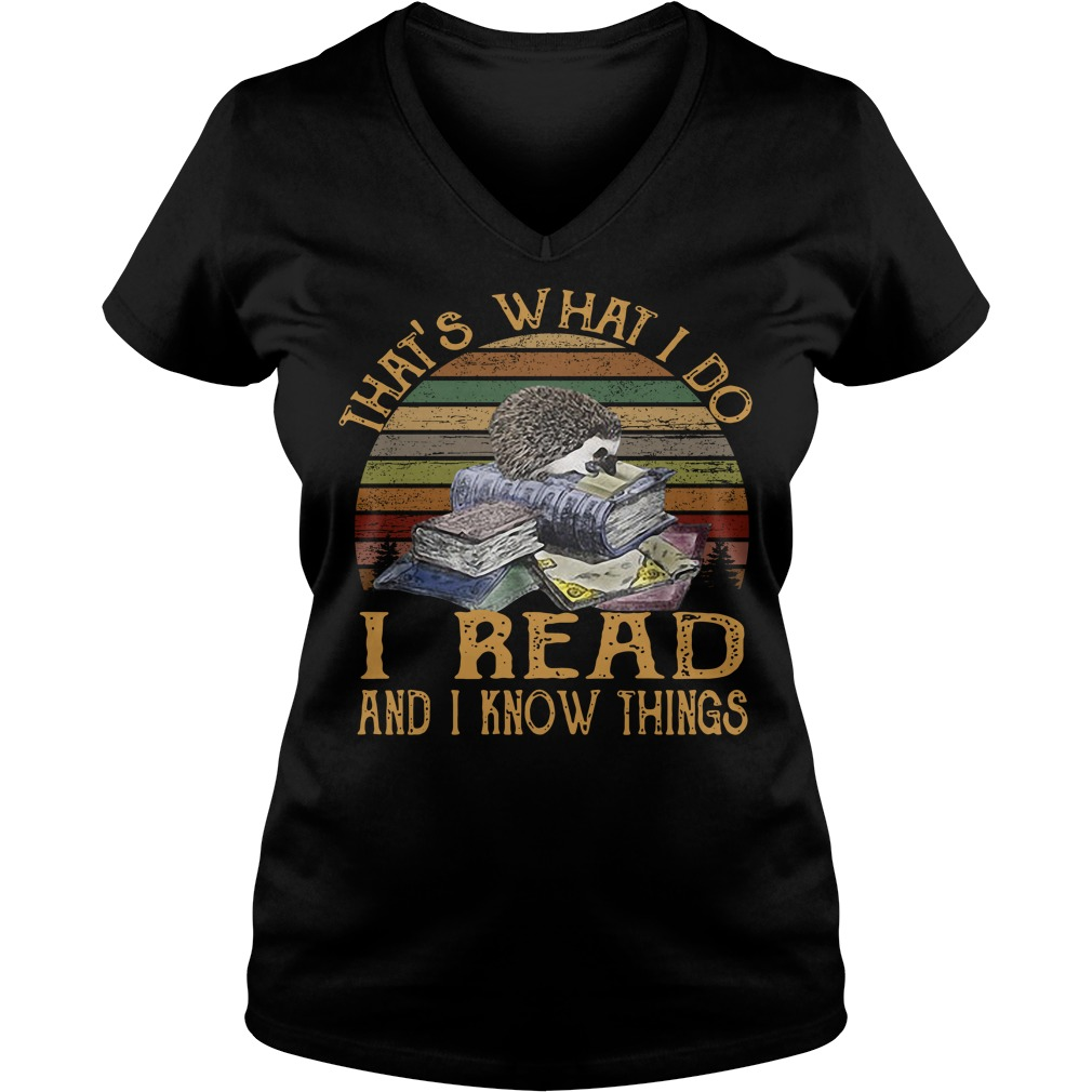 Hedgehog that's what I do I read and I know things vintage V-neck T-shirt