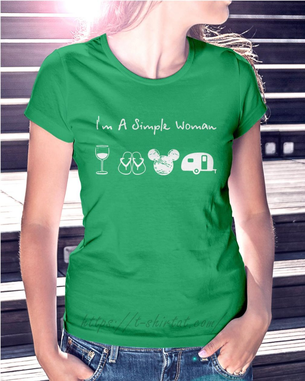 I'm a simple woman I like wine flip flop mickey camping Ladies Tee green